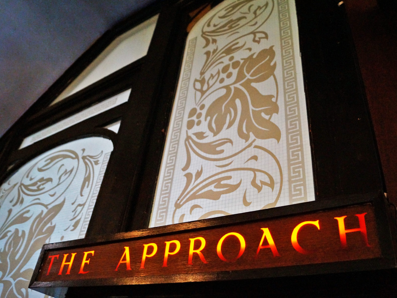 The Approach Tavern sign and decorative glass